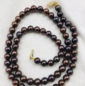 10k black pearl necklace